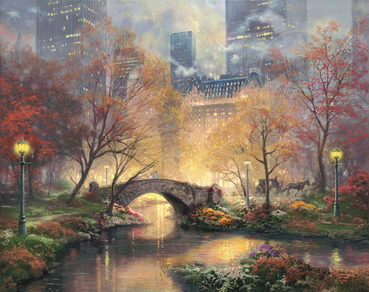 Thomas Kinkade Studios Mickey and Minnie Central Park 18 x 24 S//N LE Paper
