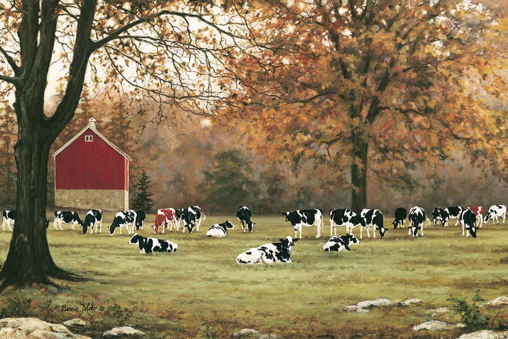 18 x 12 Bonnie Mohr Under the Autumn Oaks Cow and Farm Country Art Print