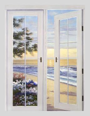 Diane Romanello French Doors Giclee on Canvas