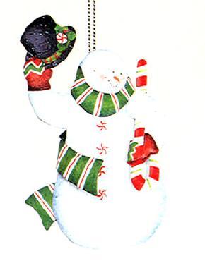 Susan Winget Lang Sam Snowman Tin Ornament