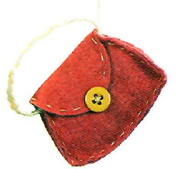 Paula Joerling Lang Felt Ornament - Cute Purse