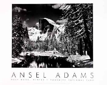 Ansel Adams Half Dome - Merced River - Winter Embossed Authorized Edition