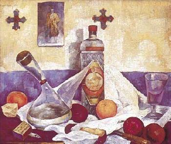 Diego Rivera Naturaleza Muerta con Botella de Anis