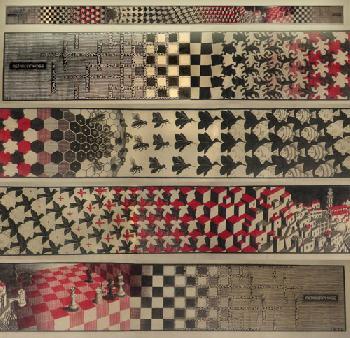 M.C. Escher Metamorphosis Red (4 Panels)