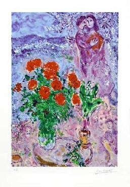 Marc Chagall Bouquet with Lovers Limited Edition of 2000