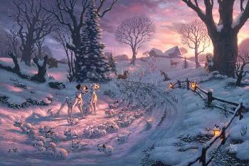 Thomas Kinkade 101 Dalmatians On the Run Gallery Proof on Canvas