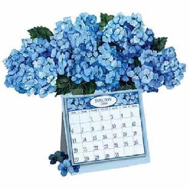Ellen Stouffer Blue Hydrangeas Dimensional 2008 Calendar