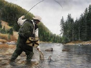 Kevin Daniel Fishing The Gallatin Canvas