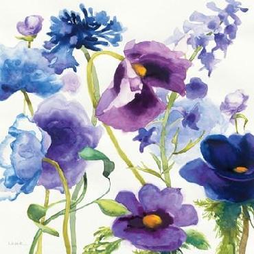 Shirley Novak Blue And Purple Mixed Garden I Canvas