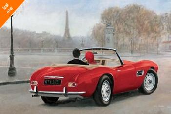 Marco Fabiano A Ride In Paris III Red Car Canvas LAST ONES IN INVENTORY!!