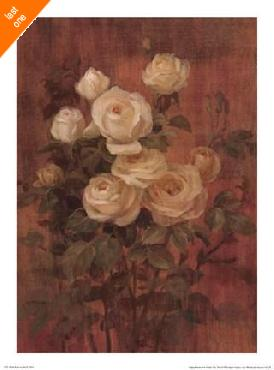 Danhui Nai Peach Roses on Red II NO LONGER IN PRINT - LAST ONE!!