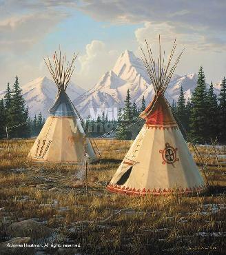 Jim Hautman Cheyenne Village Remarque on Paper