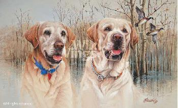 James Killen Old Buck and Young Jeb - Yellow Labs Remarque on Paper