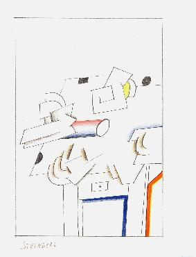 Saul Steinberg Illustration II From All Except You Lithograph Edition of 100