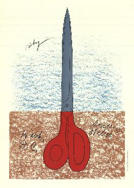 Claes Oldenburg Scissors As Monument (no Text) Lithograph Edition of 1000