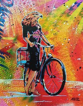 Abcartattack Cycle Soaring Canvas
