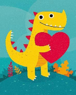 Michael Buxton Dino Love Canvas