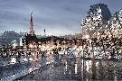 Alan Blaustein Louvre With Eiffel Tower VIsta #1
