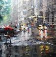 Lague Manhattan Red Umbrella Canvas Canvas