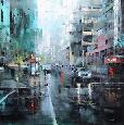 Lague Montreal Turquoise Rain Canvas Canvas