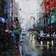 Lague St. Catherine Street Rain Canvas Canvas