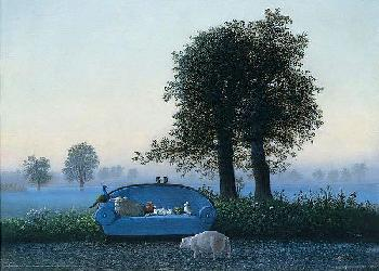 Michael Sowa The Blue Sofa Canvas
