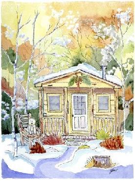 Jennifer Zsolt Cabin Snow