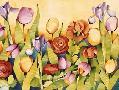 Mary Russel Iris & Tulips/ Yellow Background