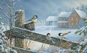 Sam Timm Winter Chickadees Remarque on Paper