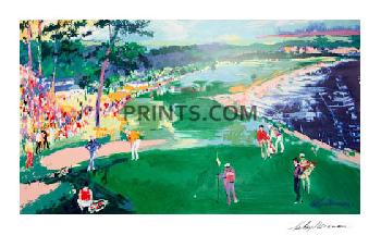 LeRoy Neiman 18th at Pebble Beach Hand Signed by LeRoy Neiman Serigraph