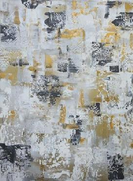 Marcy Chapman Silver Gray Gold Abstract Canvas