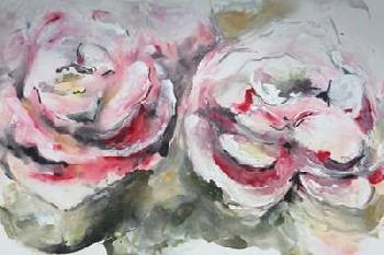 Marcy Chapman Pair Of Pink Roses Landscape Canvas