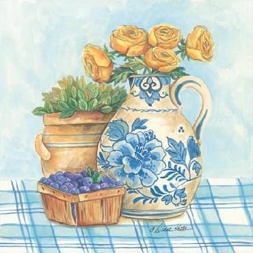 Diane Kater Blue And White Pottery With Flowers II