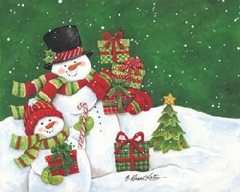 Diane Kater Father And Son Merry Christmas Snowmen