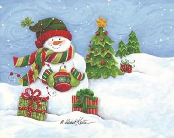 Diane Kater Snowman With Ornament