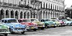 Pangea Images Cars Parked In Line, Havana, Cuba