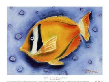 Dona Turner White Banded Island Fish Canvas