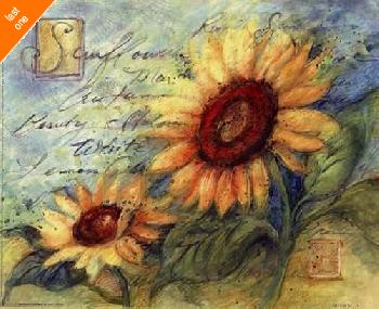 Susan Winget Sunflowers On Blue   LAST ONES IN INVENTORY!!