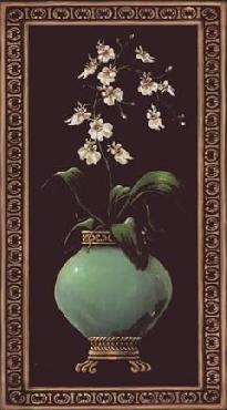 Janet Kruskamp Ginger Jar With Orchids I