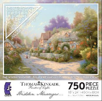 Thomas Kinkade Cobblestone VIllage 750 Hidden Messages Piece Puzzle