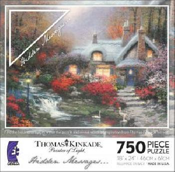 Thomas Kinkade Evening At Swanbrooke Cottage 750 Hidden Messages Piece Puzzle