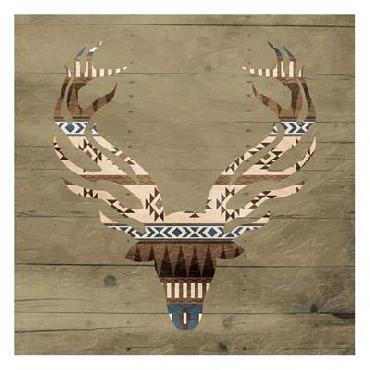 Jace Grey Aztec Deer 2 Canvas