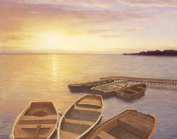 Diane Romanello Boats at Dock Artist