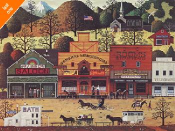 Charles Wysocki Western Town NO LONGER IN PRINT - LAST ONES!!