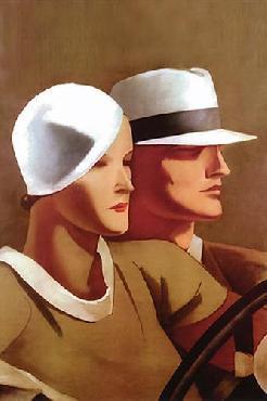 Marcello Dudovich Couple Driving Canvas