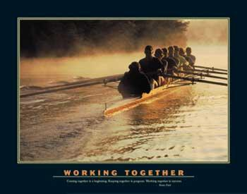 Motivational Working Together - Rowers in Fog