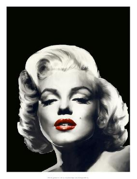 Chris Consani Red Lips Marilyn In Black Open Edition Giclee - Gloss
