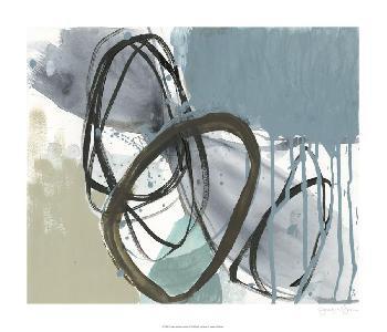 Jennifer Goldberger Umber And Black On Blue I Giclee Canvas