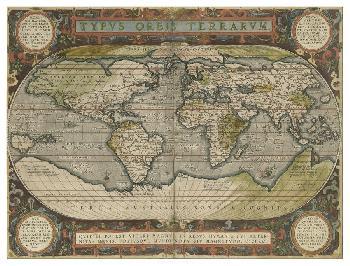 Vision Studio Antique World Map 36x48 Giclee Canvas