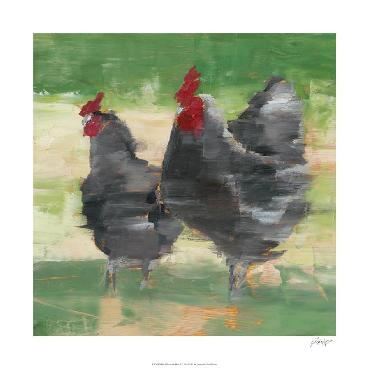 Ethan Harper Black Rooster & Hen II Limited Edition Giclee
